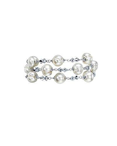 9 mm blanc 3 rangs &Bracelet en perles d'eau douce