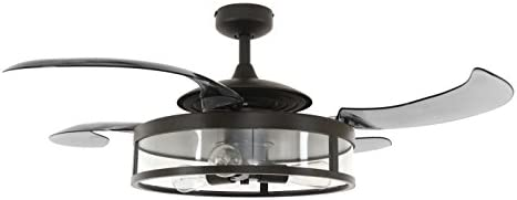Fanaway 212927010 Classic Indoor Retractable Blade Ceiling Fan Light Kit, 3 Dimmable Vintage LED Bulbs, 3 Speed Remote Control Included, 48 Inch, Antique Black and Smoke