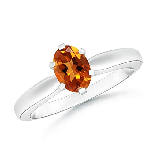 Tapered Shank Oval Solitaire Citrine Ring in Platinum (7x5mm Citrine)