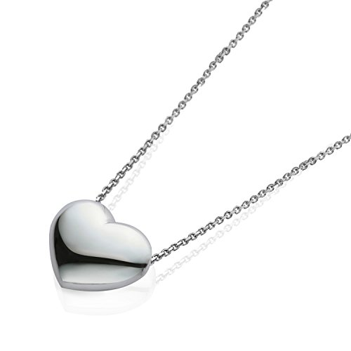 VIKI LYNN Heart Necklace 925 Sterling Silver 18K Gold Plated 3D Puffed Heart Jewelry for (Sterling Silver Puffed Box)