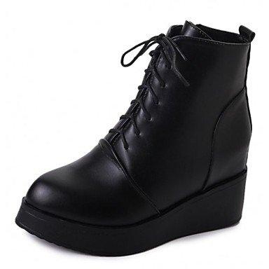 RTRY Zapatos De Mujer Otoño Pu Confort Moda Botas Botas Chunky Talón Talón De Cuña Round Toe Botas Mid-Calf Lace-Up For Casual Negro Us6.5-7 / Ue37 / Uk4 5-5 / Cn37 US6.5-7 / EU37 / UK4.5-5 / CN37