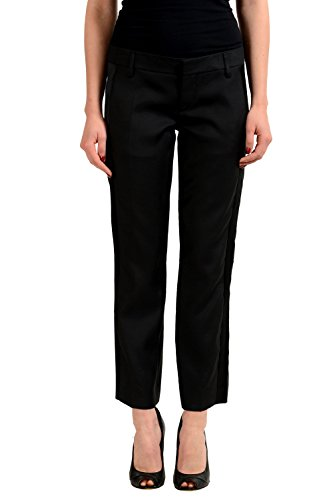 Dsquared2 Wool Silk Black Women's Cropped Tuxedo Style Dress Pants US XS IT 38