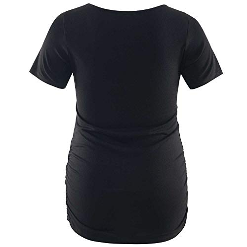 Liu /& Qu Womens Maternity Cold-Shoulder Short/& Long Sleeve Scoop Neck Pregnancy Ruched T-Shirt