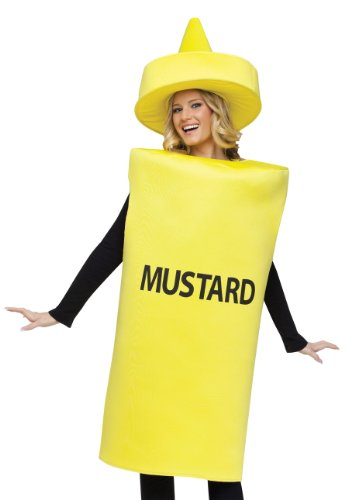 [FunWorld Mustard Bottle, Yellow, One Size Costume] (Food Halloween Costumes For Adults)
