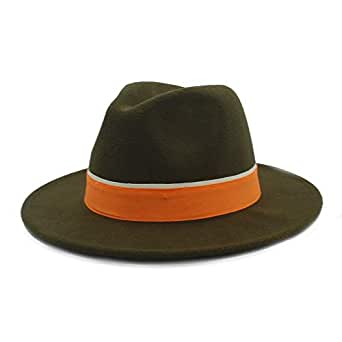 SHENTIANWEI Men Women Winter Fedora Hat with Orange Cloth Belt Panama Hat Wide Brim Church Fascinator Hat Casual Hat Size 56-58CM (Color : Army Green, Size : 56-58)