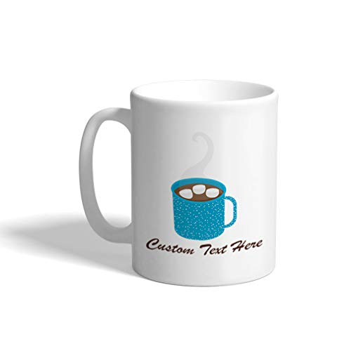 Custom Funny Coffee Mug Coffee Cup Hot Chocolate Blue White Ceramic Tea Cup 11 OZ Personalized Text Here
