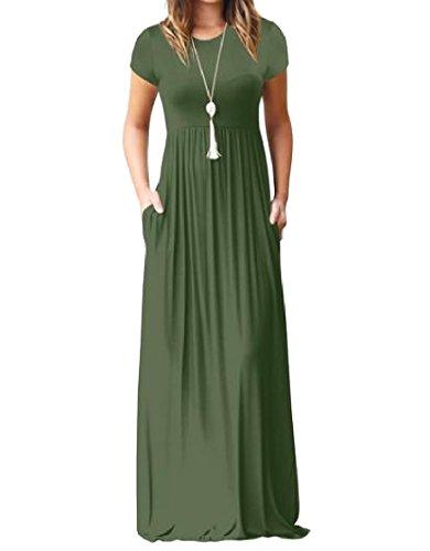 Tasca donne Coolred Solido Vestito manicotto Di Bicchierino Colore Maxi Militare Verde Estate Del qS7rqx4