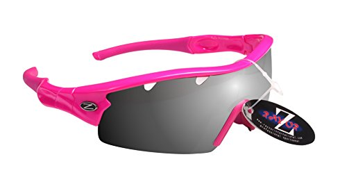 Rayzor Liteweight UV400Rose Sports Wrap Cricket Lunettes de soleil, 1pièce ventilée Smoked Miroir AntiGlare objectif