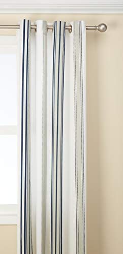 Navy Curtains for Door, Modern Contemporary Fabric Light Window Curtain for Outdoor, Newport Striped Modern Window Curtains, 54X95, 1-Panel Pack ()