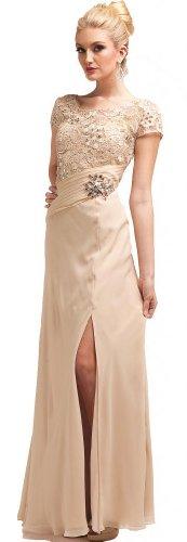Meier Women's Embroidery High Slit Mother of Bride Evening Dress Champange-M
