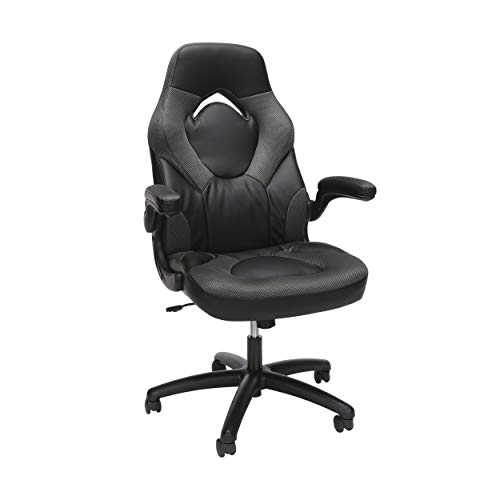 Essentials Racing Style Leather Gaming Chair – Ergonomic Swivel Computer, Office or Gaming Chair, Gray (ESS-3085-GRY)