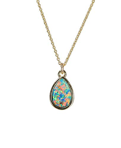 Opal Teardrop Pendant Necklace 14k Gold Filled 17 Inches Length Summer Gift ()