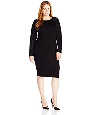 Women's Plus Size Hot Fix Sleeve Sweater Dress Sheath