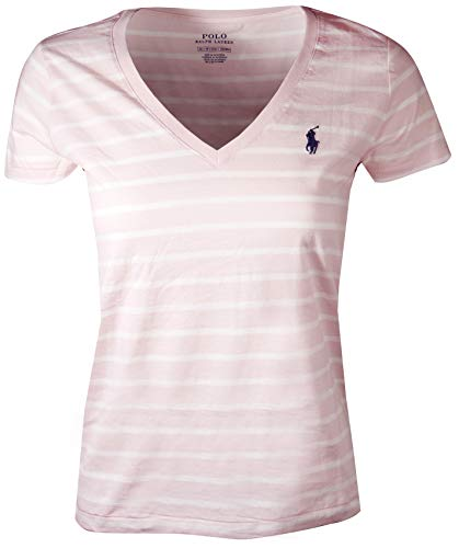 Polo Ralph Lauren Women's Pony Logo V-Neck Tee (Medium, Light Pink/White (Navy Pony))
