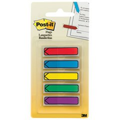 Post-it Arrow Flags, Assorted Bright Colors, 1/2-Inch Wide, 24/Dispenser, 4-Dispensers/Pack, 6 Packs