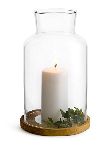 Sagaform 5017609 Candle Holder, Medium - Decorative candle lantern features hurricane glass and Solid oak base with glass plate The glass plate will catch water and wax drippings keeping the oak from getting water or wax damage and for easy cleaning Excellent for plants and large pillar candles - living-room-decor, living-room, candles - 31Fc 3TdiqL -