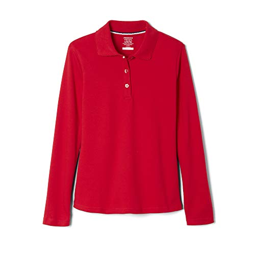 French Toast School Uniform Girls Long Sleeve Polo Interlock with Picot Collar, Red, Small (6/6X) ()