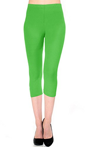 VIV Collection Regular Size Printed Brushed Capris (Apple Green)