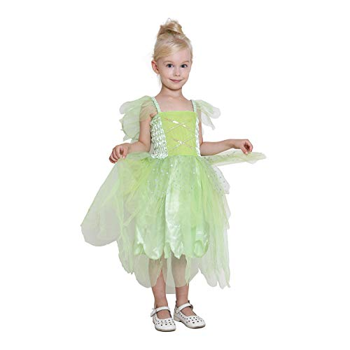 Girls Princess Tinkerbell Costume Long Dress Fairy Wings Birthday Party Halloween (Green 4-6 Year)