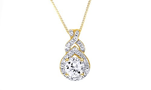 Jewel Zone US Simulated White Sapphire Teardrop Frame Pendant Necklace In 14K Gold Over Sterling Silver by Jewel Zone US