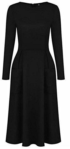 Jaycargogo Mode Féminine Solide Robe De Poche À Manches Longues Col Rond Noir