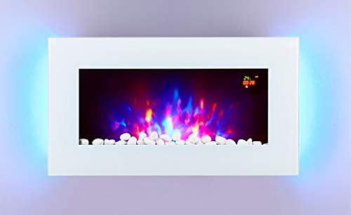TruFlame 2020 WHITE GLASS 7 COLOUR CHANGING LED WALL MOUNTED ELECTRIC FIRE