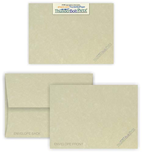 (5X7 Blank Cards with A-7 Envelopes - Natural Parchment Look - 25 Sets by Thunderbolt Paper - Lighter & Darker Colors of Pulp - Invitations, Greeting, Thank Yous, Notes, Weddings - 65# Light Cover)