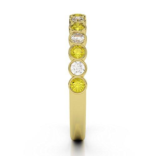 Or jaune 18carats 0,21CT G-H/VS Certifié Round Cut Saphir Jaune et diamants Agdr-1102