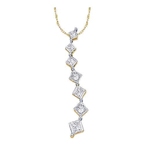 14kt Yellow Gold Womens Princess Diamond Graduated Journey Pendant 1/4 Cttw ()