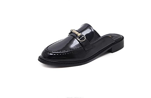 Black Round Toe Heel Bow Backless Women Loafers Shallow adil for set Slippers Flat Mule Ribbon Sandals n4xgZqzv