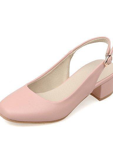 ShangYi Women's Shoes Chunky Heel Heels / Square Toe Heels Office & Career / Dress / Casual Black / Blue / Pink / Beige Blue gjC2fGTTT