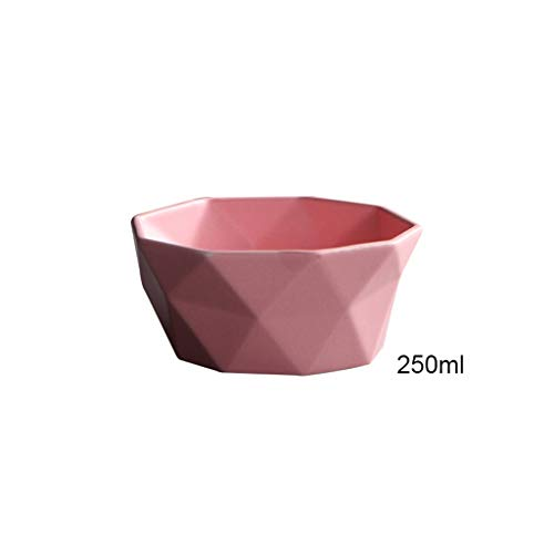 Salad Bowls Ceramic Salad Bowl Tableware Diamond Edge Soup Bowls Simple and Creative Salad Geometric Shape Bowl serving bowl (Color : Pink, Size : 250ml)