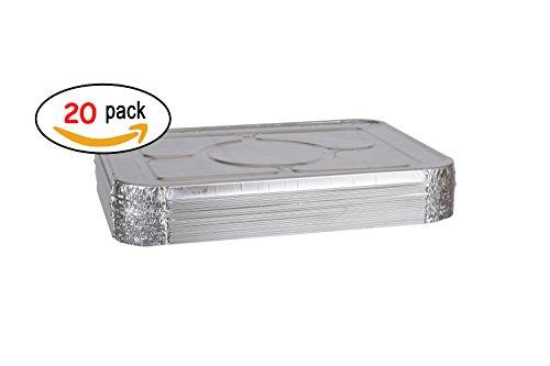 Aluminum Foil Pans Lids - Aluminum Foil Lids for Aluminum Steam Table Pans, Fits Half-Size Pans (1 Bags of 20)