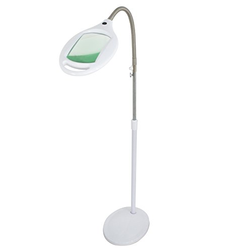 ZENY 2 in 1 LED Magnifying Glass Floor Lamp with Bright Light- Height Adjustable Gooseneck Magnifier Standing Floor Lamp – for Reading, Tasks Crafts Lighting