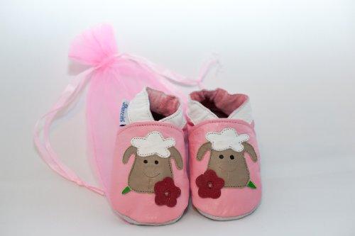 Cuero suave zapatos de bebé oveja, color rosa, talla 0-6 meses