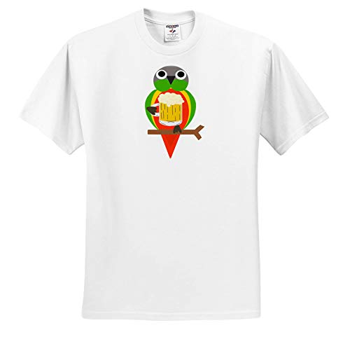 - AllSouthernDesignTees - Drinking - Cool Colorful Fun Conure Parrot Drinking Beer Out of a Mug - T-Shirts - White Infant Lap-Shoulder Tee (12M) (ts_290672_67)