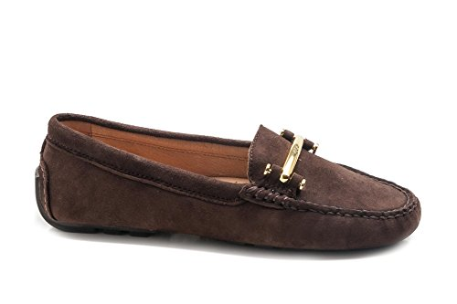 Marron Dark Lauren Brown pour femme Ralph Mocassins 1avq1O