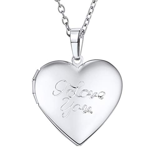 U7 Women Girls Heart-Shaped Platinum Platinum I Love You Engraved Locket Necklace