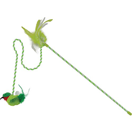 OurPets Play-N-Squeak RealBirds Buzz Off Wand Pet Interactive Cat Toy (Night Bird That Sounds Like A Cat)
