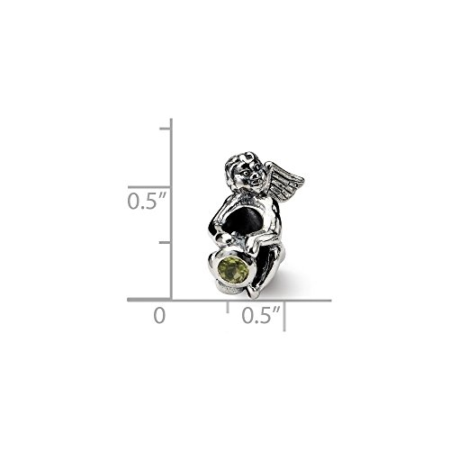 Solid .925 Sterling Silver Reflections August CZ Antiqued Bead 16.36 mm Cubic Zirconia Antiqued Bead