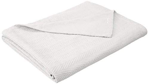 Superior 100% Cotton Thermal Blanket - All-Season Oversized Throw, Woven Blanket with Herringbone Weave Pattern, White, King Size