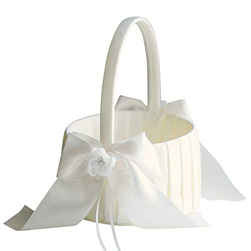 Alex Emotions Ivory or White Flower Girl Basket, Wedding Basket, Big Size Flower Girl Baskets, Large Wedding Baskets