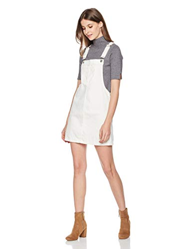Lily Parker Women's Classic Adjustable Strap Denim Overall Dress Large White