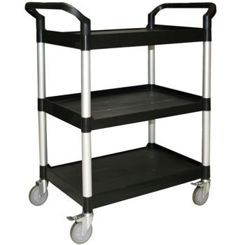 Restaurant Essentials Heavy Duty Commercial Multipurpose Utility Service  Aluminum Push Cart With Wheels Black