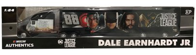 NASCAR Authentics Dale Earnhardt Jr. & Kasey Kahne Justice League Hauler - Hendrick Motorsports Team Racing Hauler Transporter Semi Tractor Trailer Rig Truck 1/64 Scale - Metal Cab Plastic Trailer