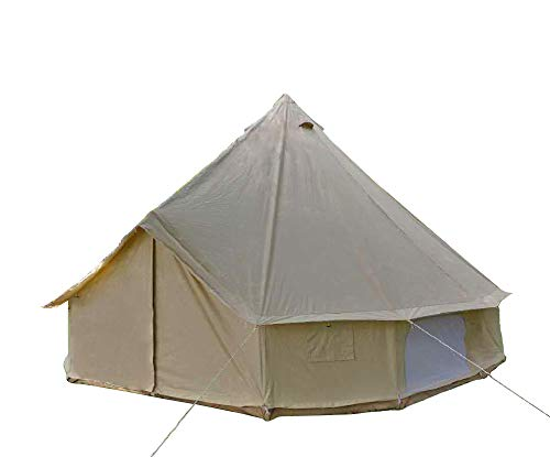 DANCHEL Outdoor All Season Sun Shade Travel Cotton Canvas Bell Tents, Size 4M/ 13.1 Feet Tipi Teepee Tent with Carry Bag and Net
