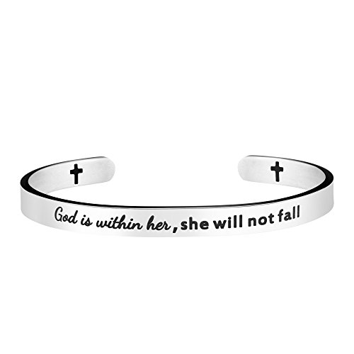 Joycuff Christian Gifts for Women Christ Bracelets Active Cuff Bangle Birthday Graduation Jewelry for Teens Mantra God is Within Her She Will not Fall