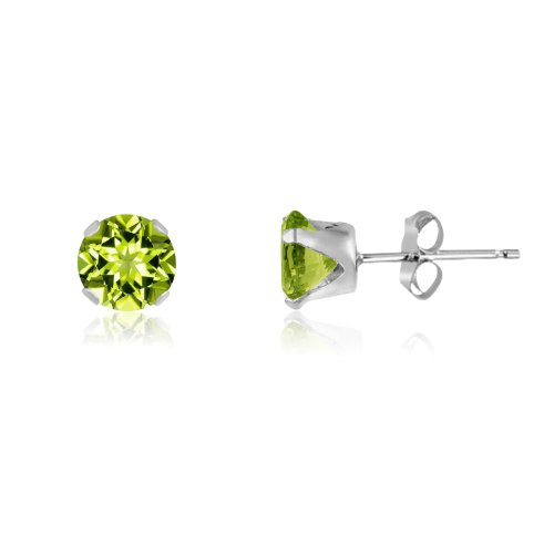Round 5mm Sterling Silver Genuine Peridot Stud Earrings, Free Gift Box included
