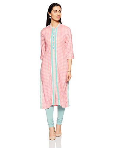 W for Woman Straight 3/4th Sleeve Viscose Casual Kurta for Ladies