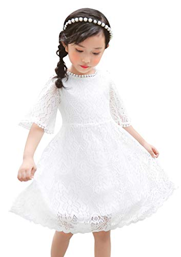 Youwon Flower Girl Lace Dress Baptism Wedding Pageant Gown First Communion Country Dress 2-6 7-16 White (Embroidered Eyelet Gown)